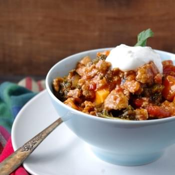 (No-Bean) Sweet Potato, Kale & Turkey Chili (gluten free & a vegetarian swap!)