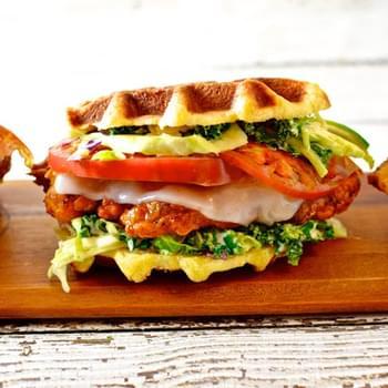 Chicken Parmesan Waffle Sandwiches Recipe