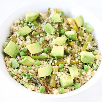 Quinoa Salad with Asparagus, Peas, Avocados & Lemon Basil Dressing