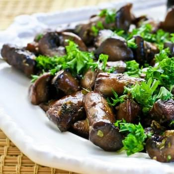 Oven or Grilltop Roasted Mushrooms with Garlic, Thyme, and Balsamic Vinegar