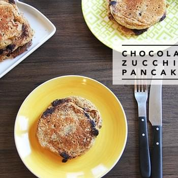 Chocolate Zucchini Pancakes for #SundaySupper