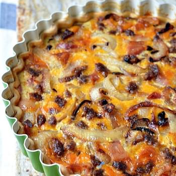 Bacon, Sausage & Cheddar Quiche