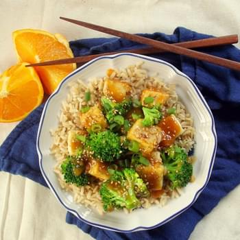 Crispy Orange Ginger Tofu with Broccoli