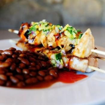 Maple Glazed Chicken Kabobs with Sweet Jalapeno Salsa