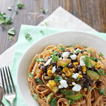 Vegetable and Black Bean Enchilada Pasta