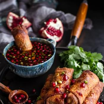 Chinese Chicken and Brussels Sprouts Egg Rolls with Sweet Chile Pomegranate Sauce.