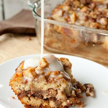 Grain Free Spiced Apple Coffee Cake with Caramel Sauce