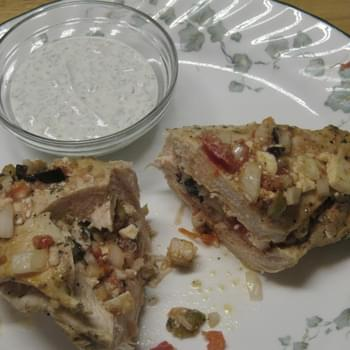 Greek Stuffed Chicken Breasts with Sour Cream Tzatziki Sauce