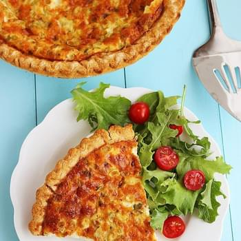 Cheesy Ham, Cheddar and Scallion Quiche