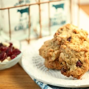 Oatmeal, Cranberry, White Chocolate Cookies {Low Calorie, Low Fat}