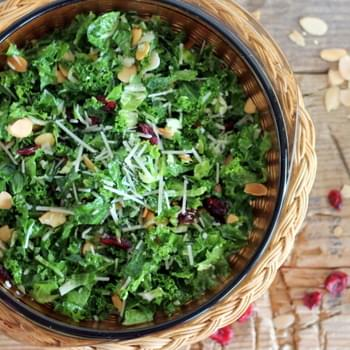 Kale and Brussels Sprout Salad with Cranberries & Toasted Almonds