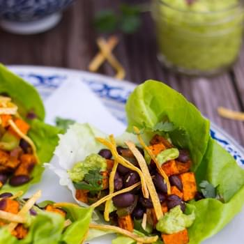 Sweet Potato & Black Bean Lettuce Wraps with Crispy Tortilla Strips & Smashed Avocado with Lime