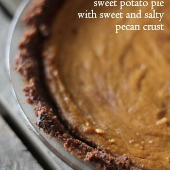 Lightened up Sweet Potato Pie with Sweet and Salty Pecan Crust (gluten free, low carb!)