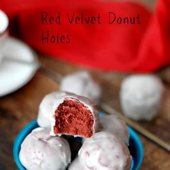 Red Velvet Donut Holes with White Chocolate Glaze