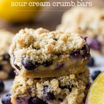 Lemon Blueberry Sour Cream Crumb Bars