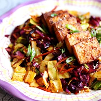 Spicy Baked Marinated Tofu with Vibrant Cabbage Stir Fry