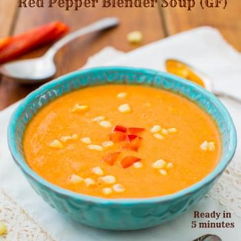 Creamy Vegan Corn and Red Pepper Blender Soup (gluten-free, soy-free, nut-free, grain-free, salt-free)