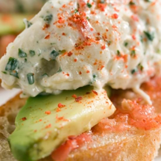 Crab Toasts with Avocado and Espelette