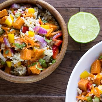 Roasted Sweet Potato and Wild Rice Salad with a Chili-Lime Vinaigrette