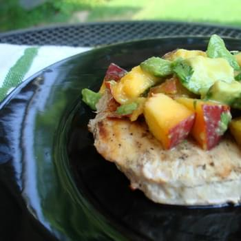 Grilled Swordfish with Peach and Avocado Salsa