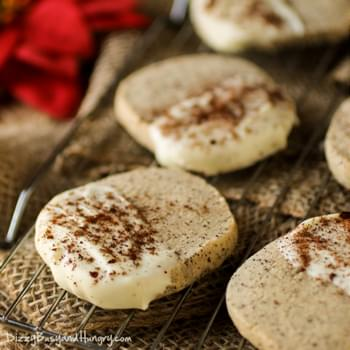 White Chocolate Dipped Coffee Shortbread Cookies
