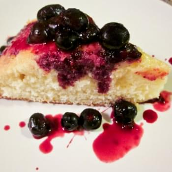 Meyer Lemon Olive Oil Cake with Blueberry Sauce