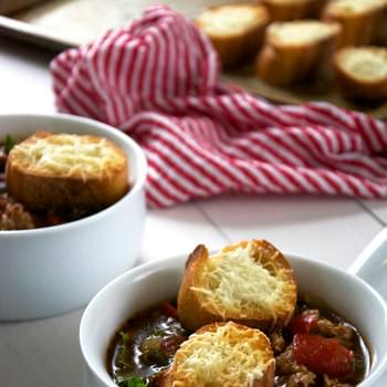 Sweet Italian Sausage Soup with Kale and Cheesy Parmesan Croutons
