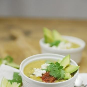 Corn, Poblano and Tomatillo Soup