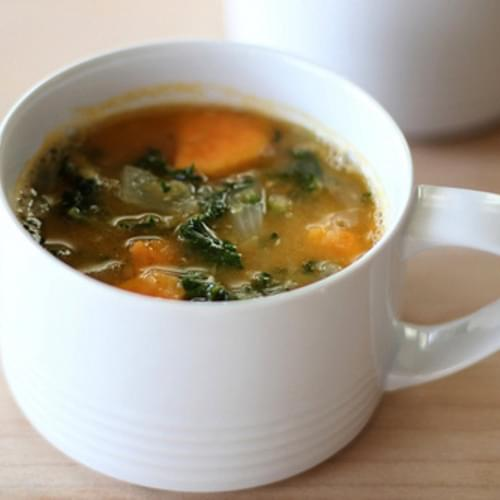 Red Lentil Soup with Sweet Potatoes and Kale