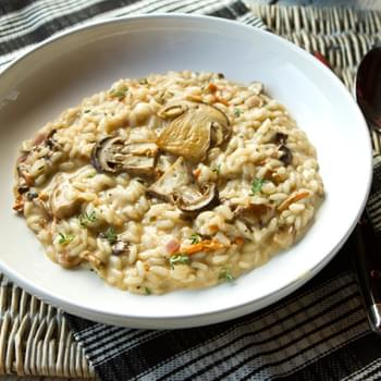 Creamy Mushroom Risotto With Thyme & Mascarpone Cheese