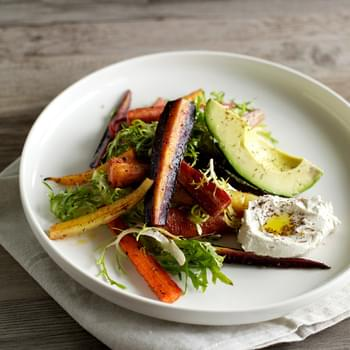 {fabulous Fermentation Week!} Za'atar Roasted Carrot Salad With Cashew Labneh, Avocado + Frisée
