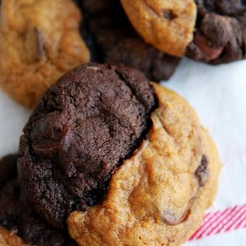 Double Chocolate Pumpkin Caramel Swirl Cookies