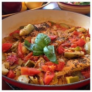 Chicken with Tomato, Zucchini and Artichokes