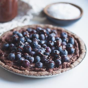 Raw Salted Blueberry Chocolate Tart