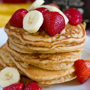 Fluffy Whole Wheat Banana Pancakes
