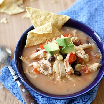 Crockpot Chicken Tortilla Soup with Black Beans & Corn (Slow Cooker)