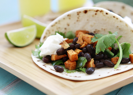 Roasted Sweet Potato and Black Bean Tacos with Goat Cheese Recipe