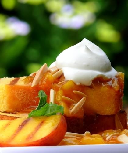 Grilled Pound Cake With Warm Peach Coulis And Chantilly Cream Recipe