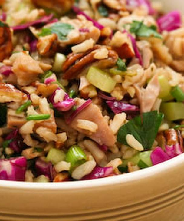 Brown Rice Salad With Leftover Turkey Red Cabbage And Pecans