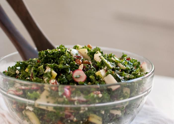 Deb's Kale Salad with Apple, Cranberries and Pecans