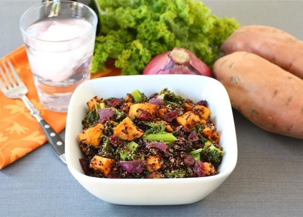 Quinoa Salad with Roasted Sweet Potatoes, Kale, Dried Cranberries, & Red Onion