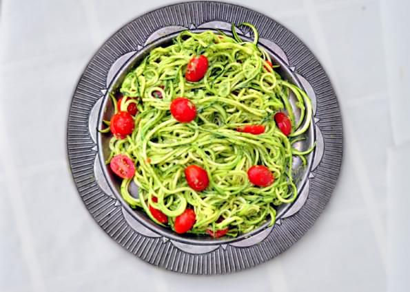 Zucchini Pasta with Avocado Pesto