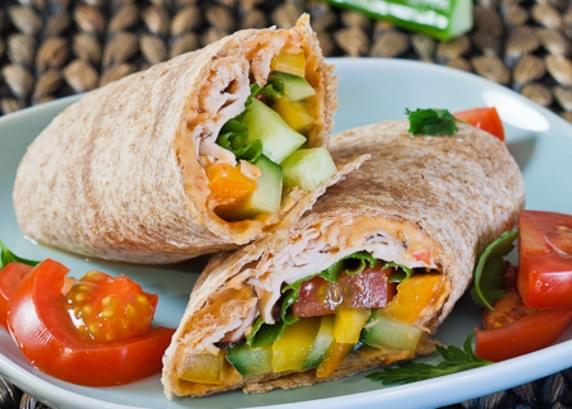 Turkey, Hummus and Veggie Wrap