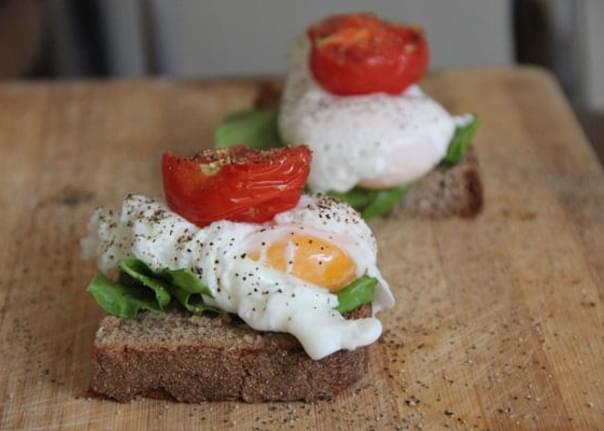 Poached Eggs & Roasted Tomato Open-Face Sandwiches