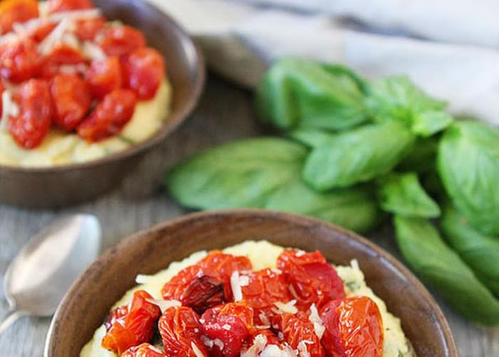 Creamy Basil Polenta with Roasted Tomatoes