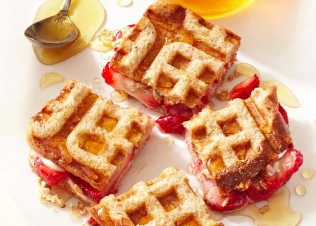 Strawberry And Cream Cheese Waffle Sandwiches