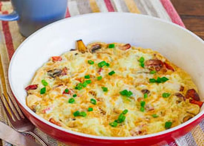 Mexican Style Omelette with Chorizo, Mushrooms and Tomatoes