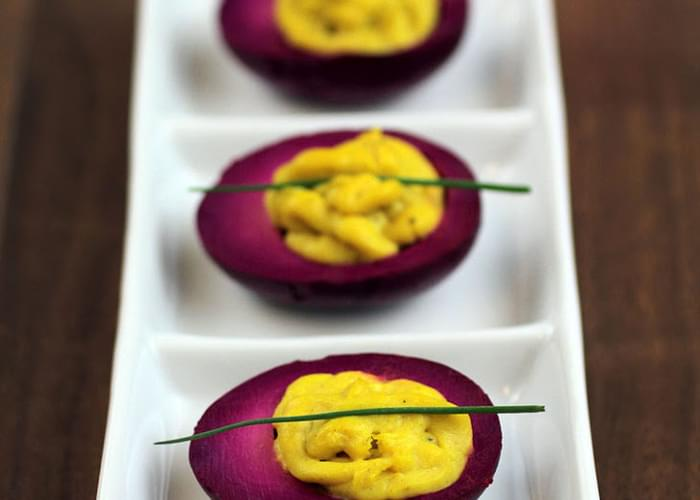 Pickled Curry Deviled Eggs