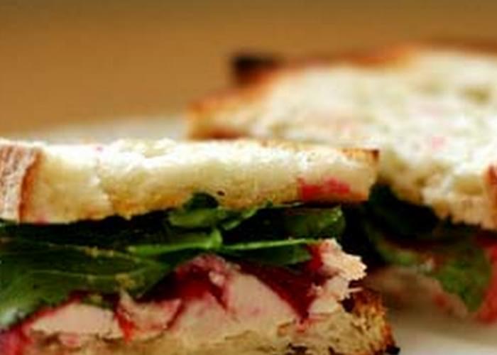 Toasted Turkey Cranberry Arugula Sandwich