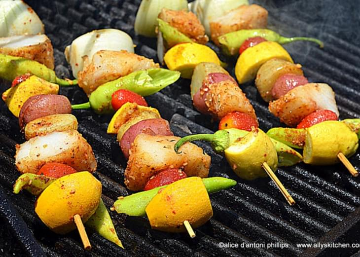 ~old Bay Cod Veggie Skewers~